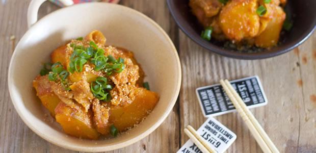 ガッツリ系で彼氏のおなかも満足! 「新じゃがと豚バラのピリ辛味噌煮」レシピ