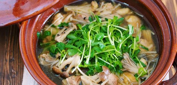 スープまで飲み干すうまさ♪胃腸にもお財布にもやさしい♪『鶏肉ときのこのうまだし鍋』
