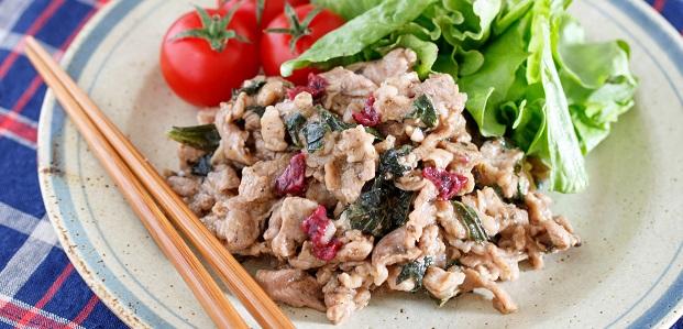 夏の作り置きやお弁当に♪お肉がやわから♪『豚こまの梅しそ生姜焼き』